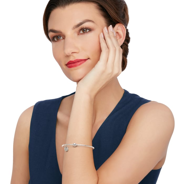 Cape Cod Jewelry Sterling Silver Twisted Single Bead Bangle Bracelet