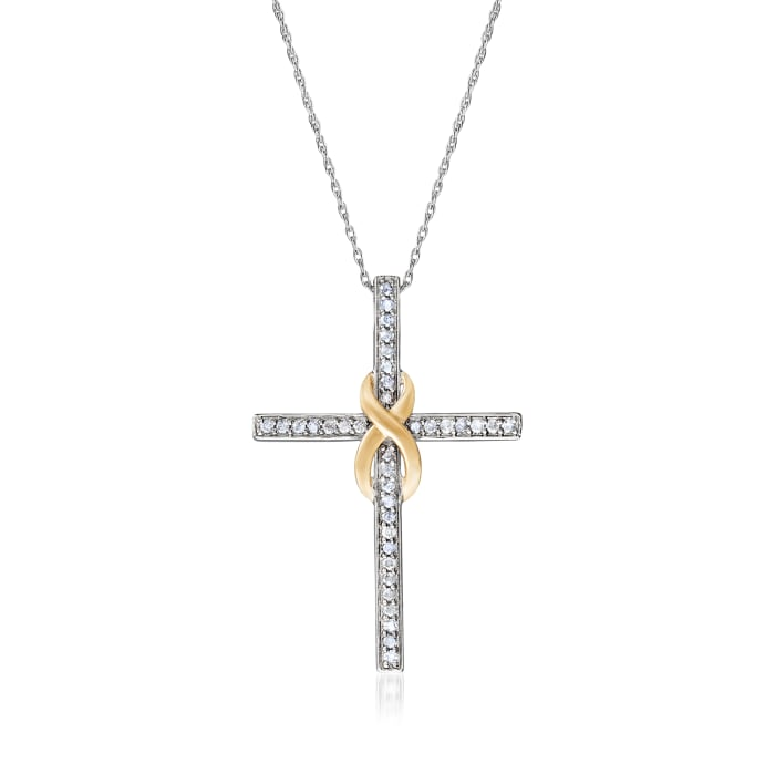 .50 ct. t.w. Diamond Infinity Cross Pendant Necklace in Sterling Silver and 14kt Yellow Gold
