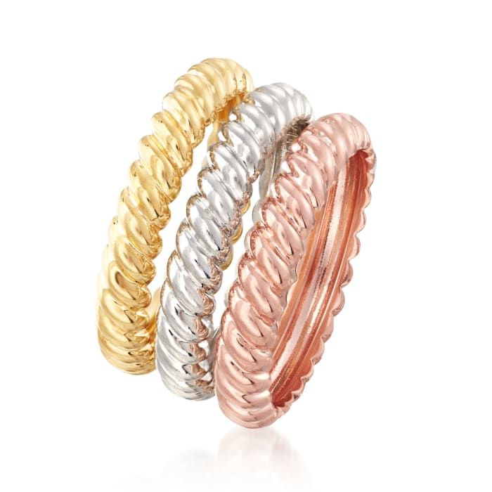 Italian Tri-Colored Sterling Silver Jewelry Set: Three Stackable Rope Rings
