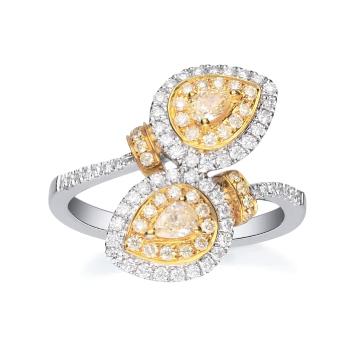 .84 ct. t.w. Yellow and White Diamond Bypass Ring in 18kt Two-Tone Gold