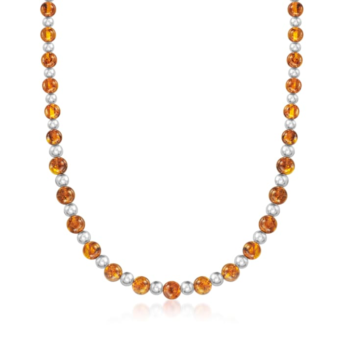 7-8mm Amber Bead Necklace with Sterling Silver