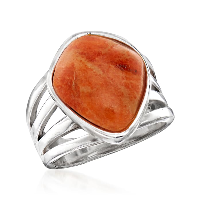 Coral Open-Space Ring in Sterling Silver