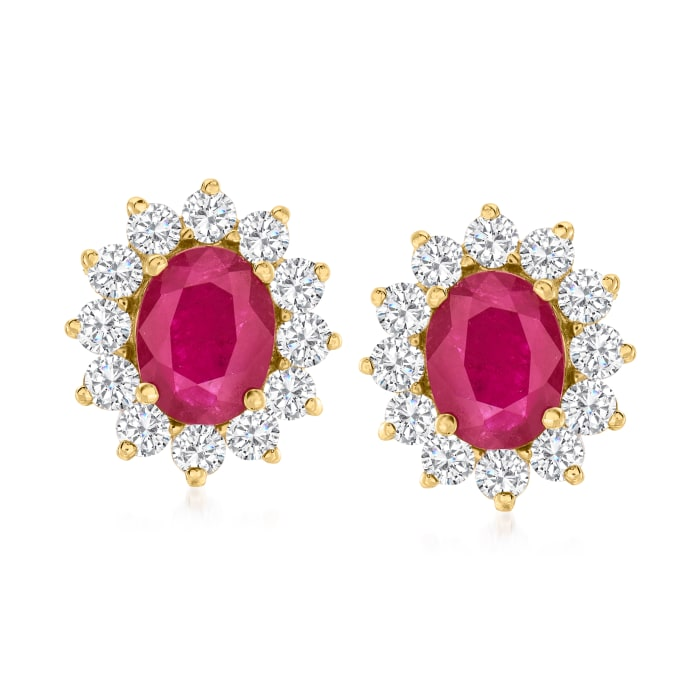 4.40 ct. t.w. Ruby and 1.92 ct. t.w. Diamond Earrings in 14kt Yellow Gold