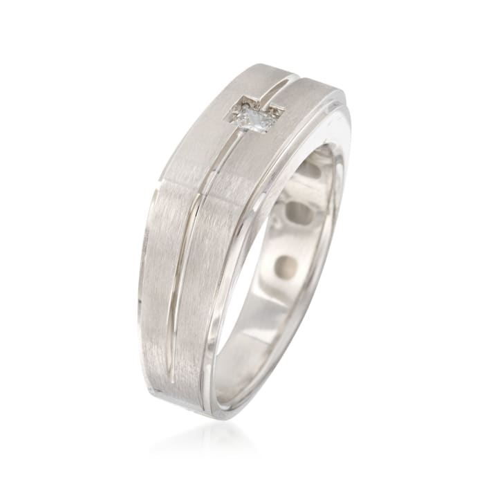 Men's .15 Carat Diamond Wedding Ring in 14kt White Gold