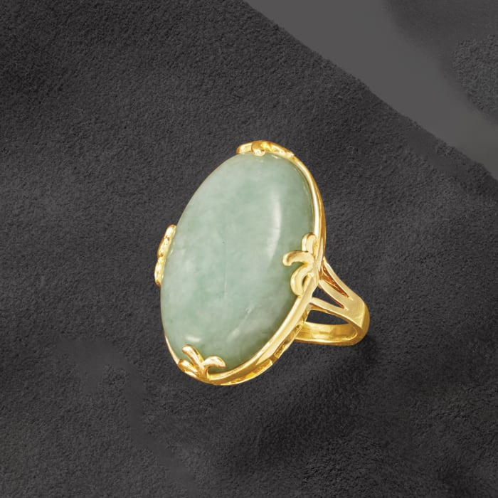 Jade Ring in 18kt Gold Over Sterling