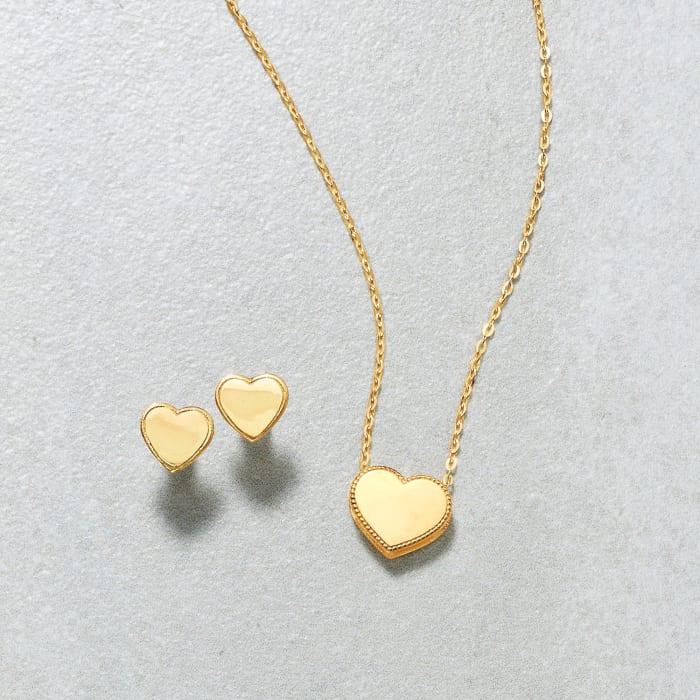 18kt Yellow Gold Heart Stud Earrings