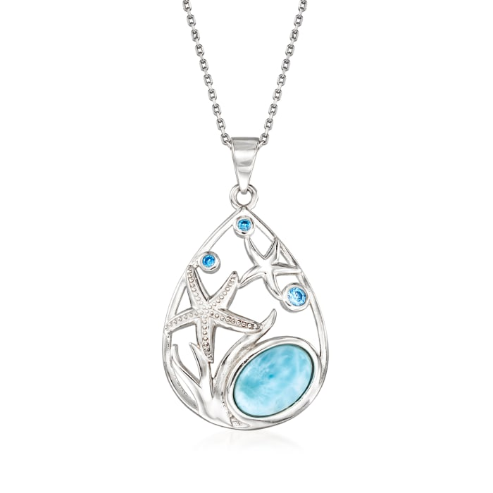 Larimar and .15 ct. t.w. CZ Starfish Pendant Necklace in Sterling Silver