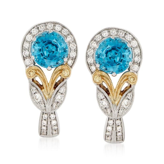 2.96 ct. t.w. Blue Zircon and .23 ct. t.w. Diamond Earrings in 18kt Two-Tone Gold