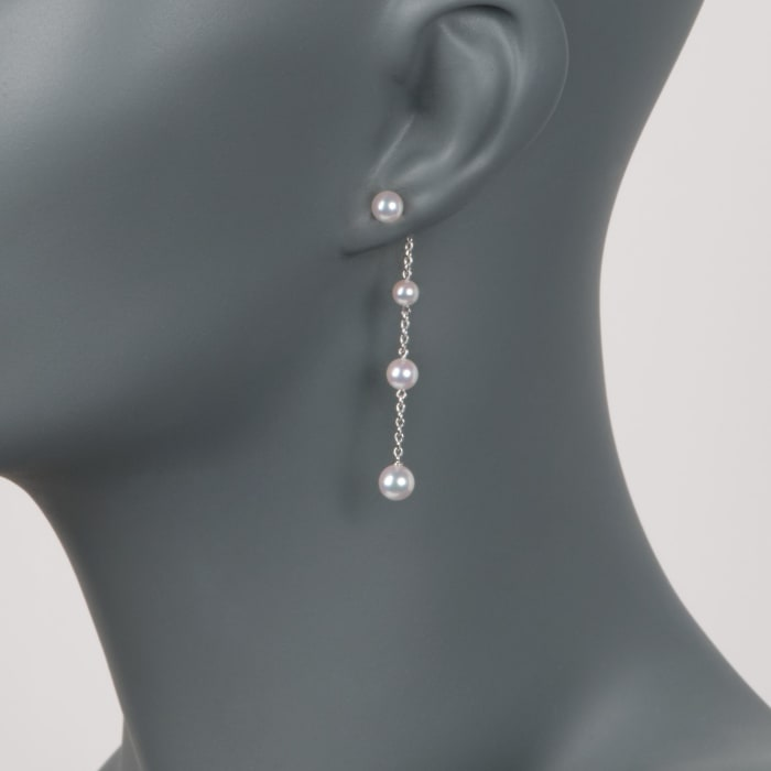 Mikimoto 4.5-6mm A+ Akoya Pearl Station Drop Earrings in 18kt White Gold