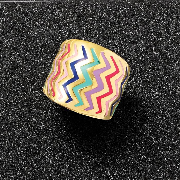 Italian Multicolored Enamel Zigzag Ring in 14kt Yellow Gold