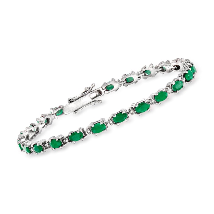 5.00 ct. t.w. Emerald Bracelet with Diamond Accents in Sterling Silver
