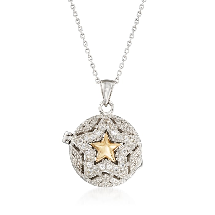 .60 ct. t.w. White Zircon Star Locket Necklace in 14kt Yellow Gold and Sterling Silver