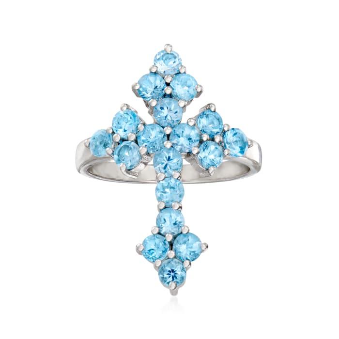 2.00 ct. t.w. Swiss Blue Topaz Cross Ring in Sterling Silver