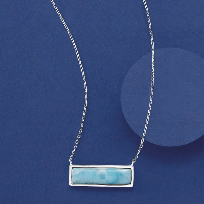 Larimar Bar Necklace in Sterling Silver