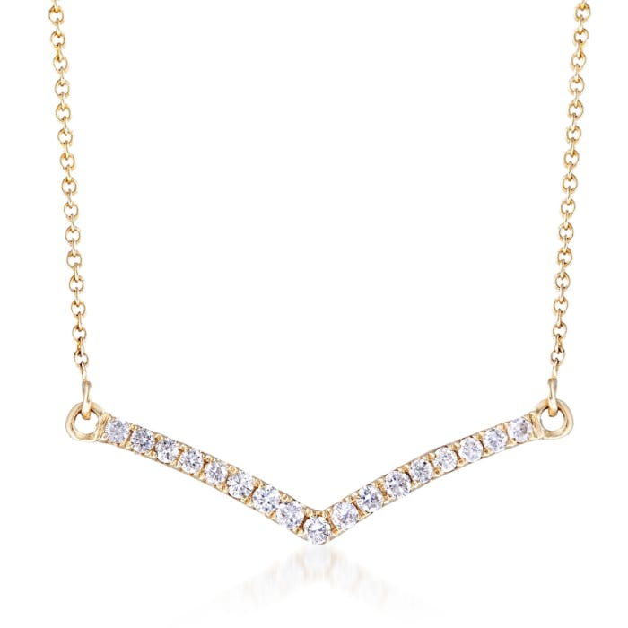 .25 ct. t.w. Diamond Chevron Necklace in 14kt Yellow Gold