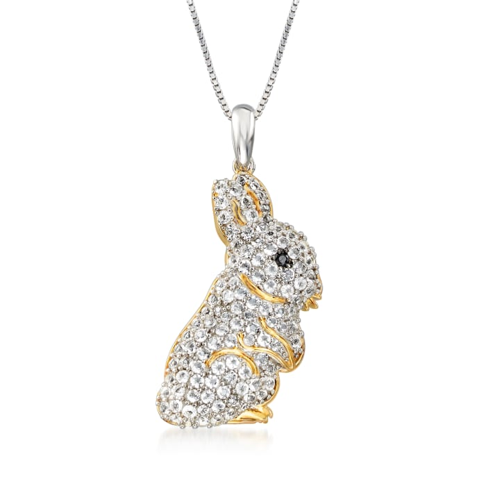 1.60 ct. t.w. White Topaz Bunny Pendant Necklace in Two-Tone Sterling Silver