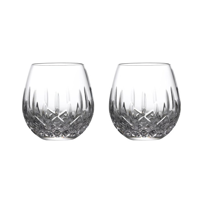 "Waterford Crystal ""Nouveau"" Set of 2 Stemless Glasses for Deep Red Wine"