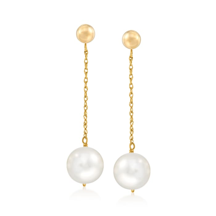 10mm Cultured Pearl Drop Earrings in 14kt Yellow Gold