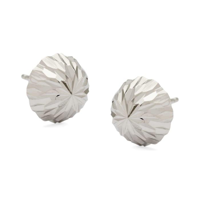 10mm 14kt White Gold Diamond-Cut Dome Ball Earrings