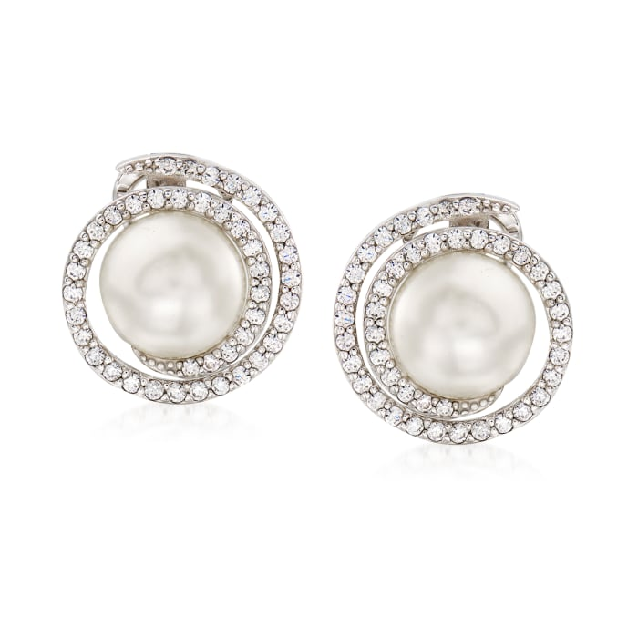 """Belle Etoile """"Thea"""" Simulated Pearl and .84 ct. t.w. CZ Swirl Earrings in Sterling Silver"""