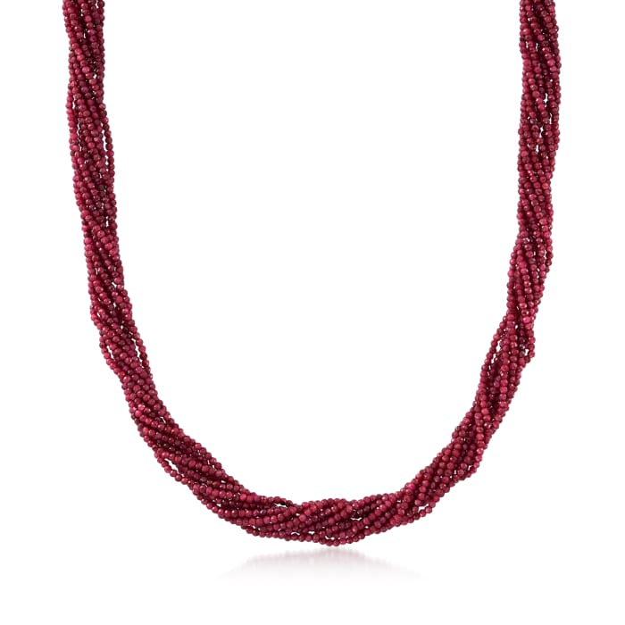 170.00 ct. t.w. Ruby Torsade Necklace with 14kt Yellow Gold