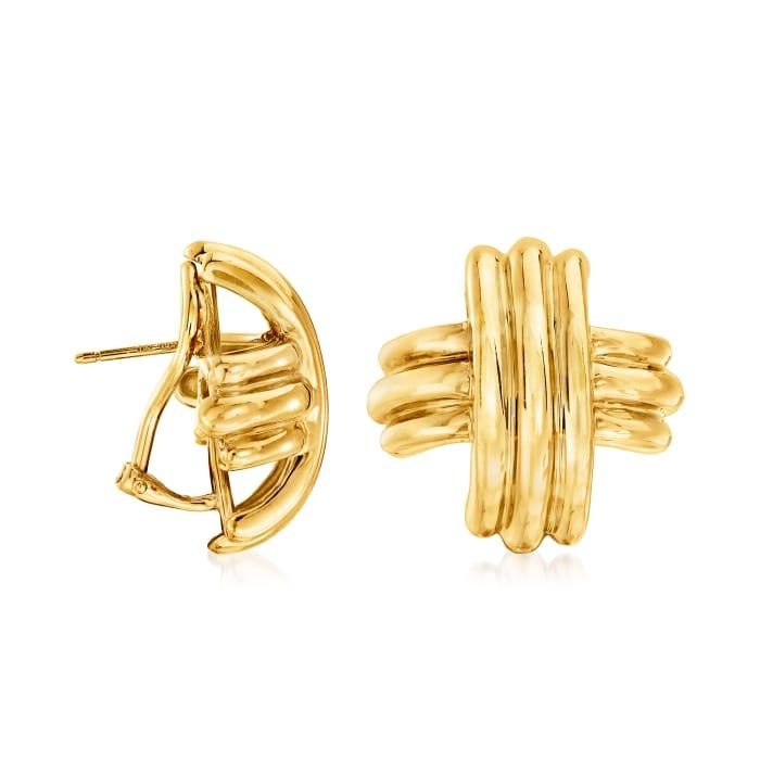 C. 1990 Vintage Tiffany Jewelry 18kt Yellow Gold X Earrings