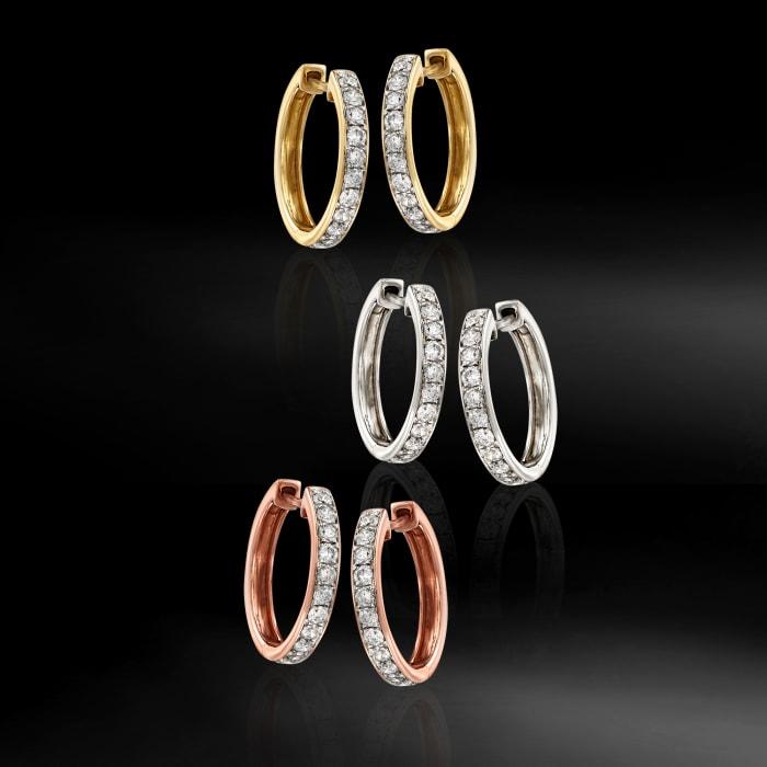 .50 ct. t.w. Diamond Hoop Earrings in 14kt Rose Gold