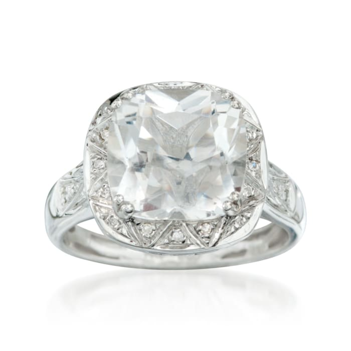 5.00 Carat White Topaz and .10 ct. t.w. Diamond Ring in 14kt White Gold