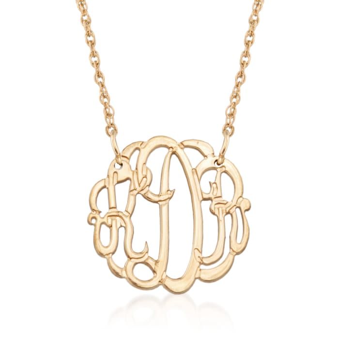 14kt Gold Over Sterling Silver Small Open Script Monogram Necklace