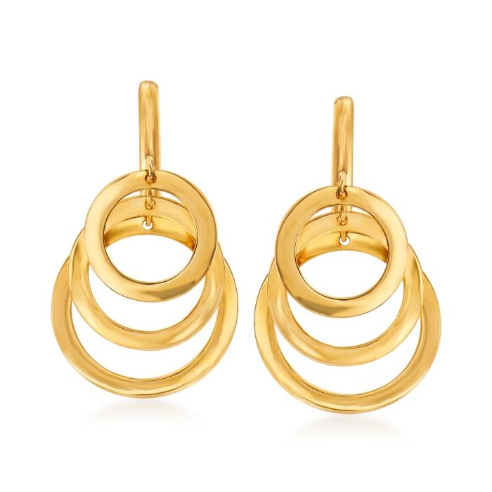 14kt Yellow Gold Triple-Circle Drop Earrings