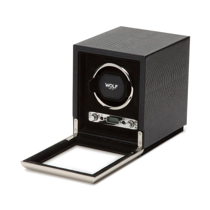 "Wolf ""Exotic"" Black Leather Single Watch Winder"