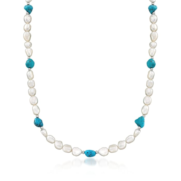 7.5-8.5mm Cultured Pearl and 7-9mm Turquoise Bead Endless Necklace with Sterling Silver Shortener