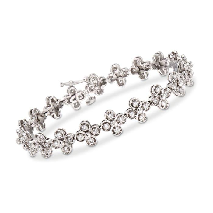 C. 1990 Vintage 2.50 ct. t.w. Diamond Flower Bracelet in 14kt White Gold