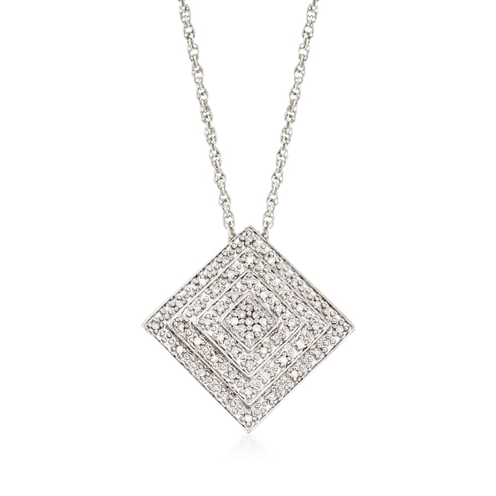 .15 ct. t.w. Diamond Concentric Square Pendant Necklace in Sterling Silver