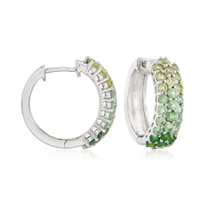2.10 ct. t.w. Green Multi-Stone Hoop Earrings in Sterling Silver