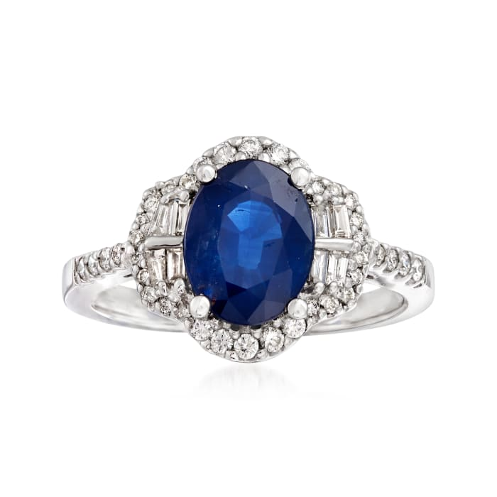 2.20 Carat Sapphire and .41 ct. t.w. Diamond Ring in 14kt White Gold