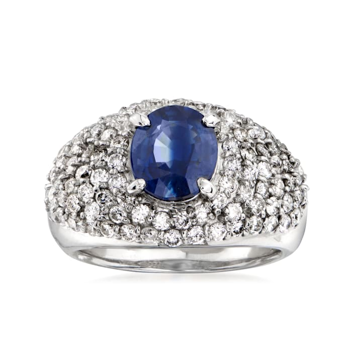 C. 1990 Vintage 2.17 Carat Sapphire and 1.50 ct. t.w. Pave Diamond Ring in Platinum