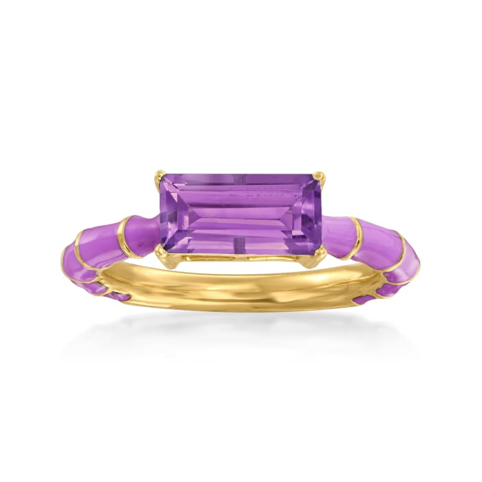 1.60 Carat Amethyst Ring with Purple Enamel in 18kt Gold Over Sterling