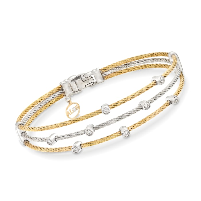 """ALOR """"Classique"""" .18 ct. t.w. Diamond Two-Tone Stainless Steel Cable Bracelet with 18kt White Gold"""