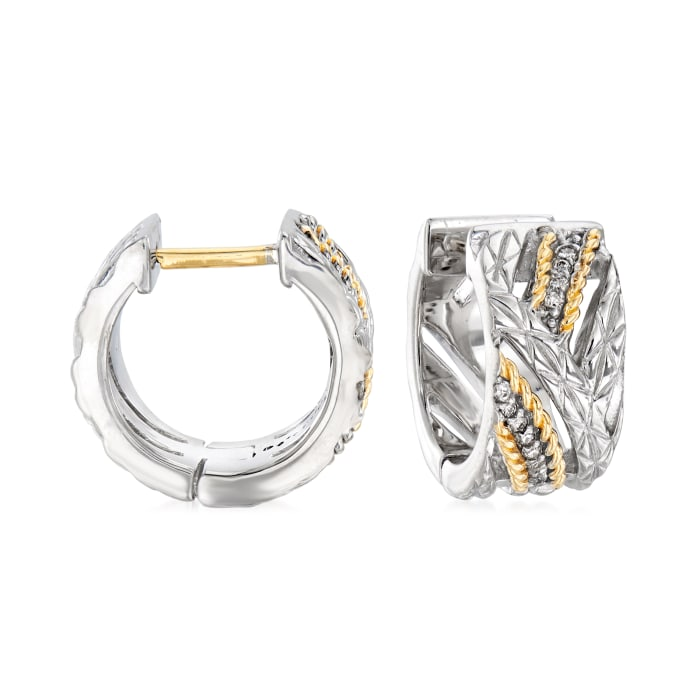 "Andrea Candela ""Arco Iris"" .12 ct. t.w. Diamond Huggie Hoop Earrings in Sterling Silver and 18kt Yellow Gold"