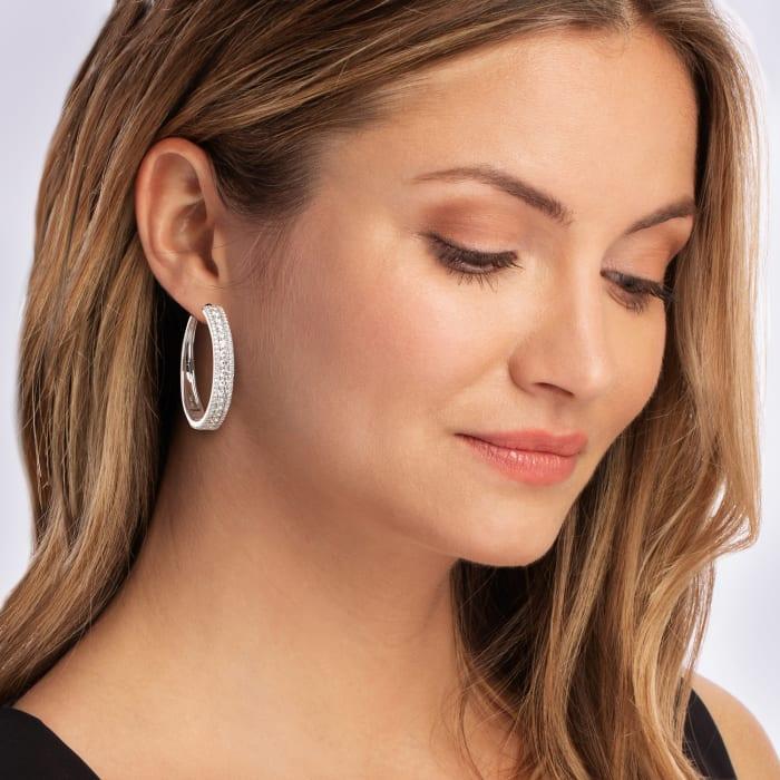 5.00 ct. t.w. Diamond Hoop Earrings in 14kt White Gold