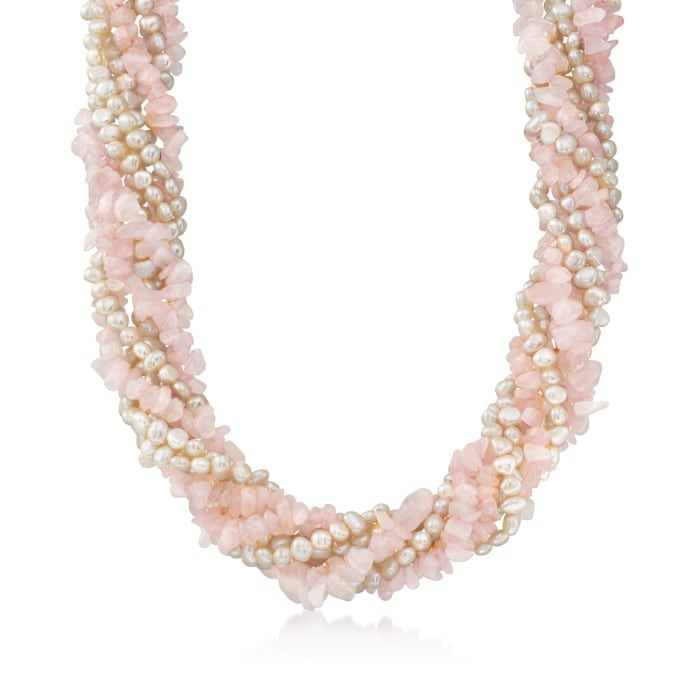 Cultured Pearl and Rose Quartz Chip Torsade Necklace with Sterling Silver