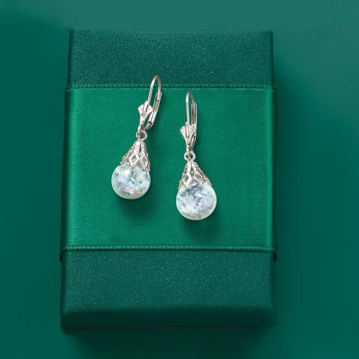 Opal and Glass Drop Earrings in 14kt White Gold