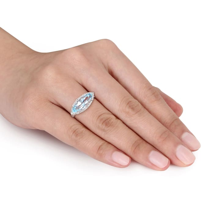 2.70 Carat Marquise Sky Blue Topaz and .10 ct. t.w. White Topaz Ring in Sterling Silver