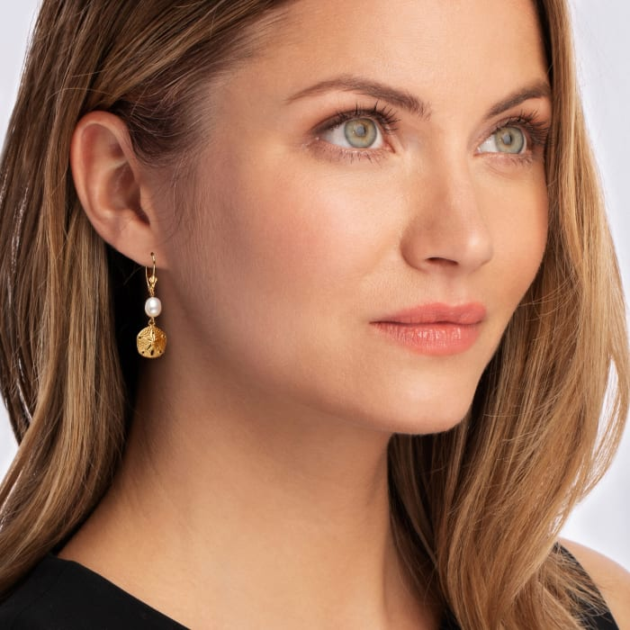 8x6mm Cultured Pearl Sand Dollar Drop Earrings in 14kt Yellow Gold