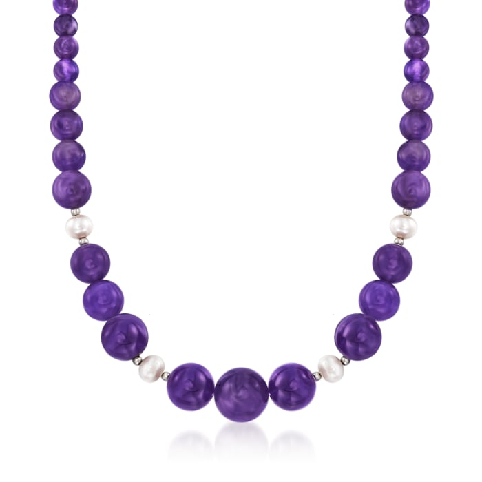 4-16mm Amethyst Bead and 8-9mm Cultured Pearl Necklace with Sterling Silver