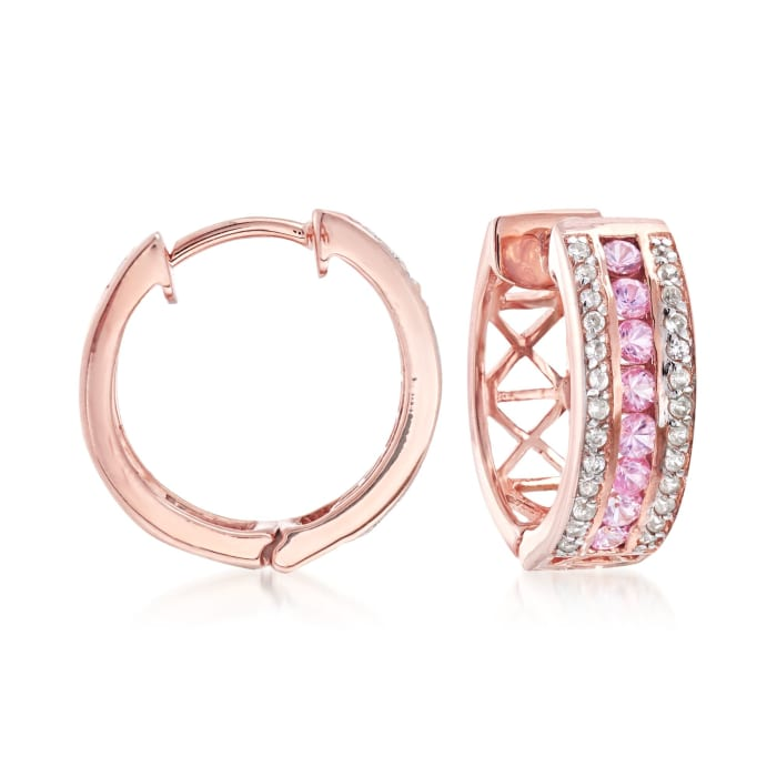 .60 ct. t.w. Pink Sapphire and .20 ct. t.w. White Zircon Hoop Earrings in 18kt Rose Gold Over Sterling