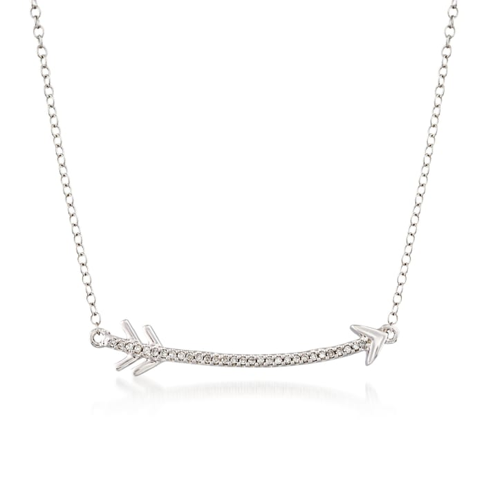 .10 ct. t.w. Diamond Curved Arrow Necklace in Sterling Silver
