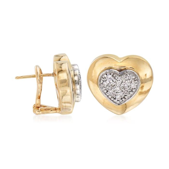C. 1980 Vintage .35 ct. t.w. Diamond Heart Earrings in 14kt Yellow Gold