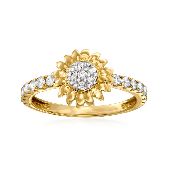 .50 ct. t.w. Diamond Sunflower Ring in 14kt Yellow Gold
